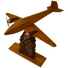 1950s Wooden Airplane Model Sculpture