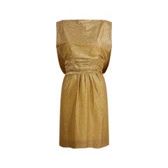 1950s Worth British Haute Couture Gold Lamé Cocktail Dress with Cape