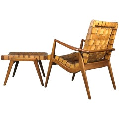 Lounge Chair and Ottoman in Woven Leather and Walnut by Mel Smilow 1956