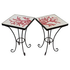 1950s Wrought Iron Ceramic Tile Side Coffee Table, a Pair
