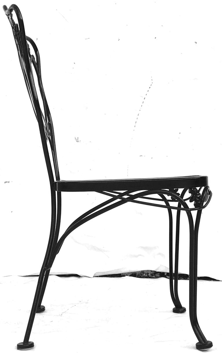 1950s Wrought Iron Mesh Floral and Vine Chairs by Woodard-S/5 For Sale 1