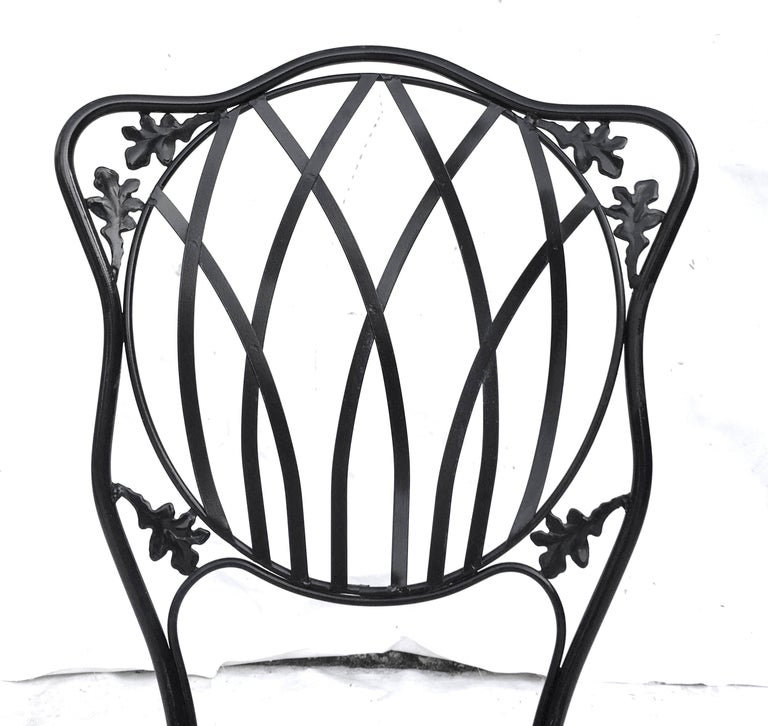 1950s Wrought Iron Mesh Floral and Vine Chairs by Woodard-S/5 For Sale 5