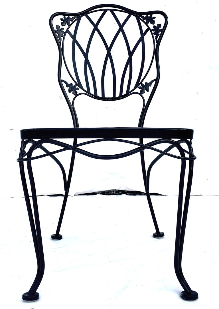 1950s Wrought Iron Mesh Floral and Vine Chairs by Woodard-S/5 In Good Condition For Sale In West Palm Beach, FL