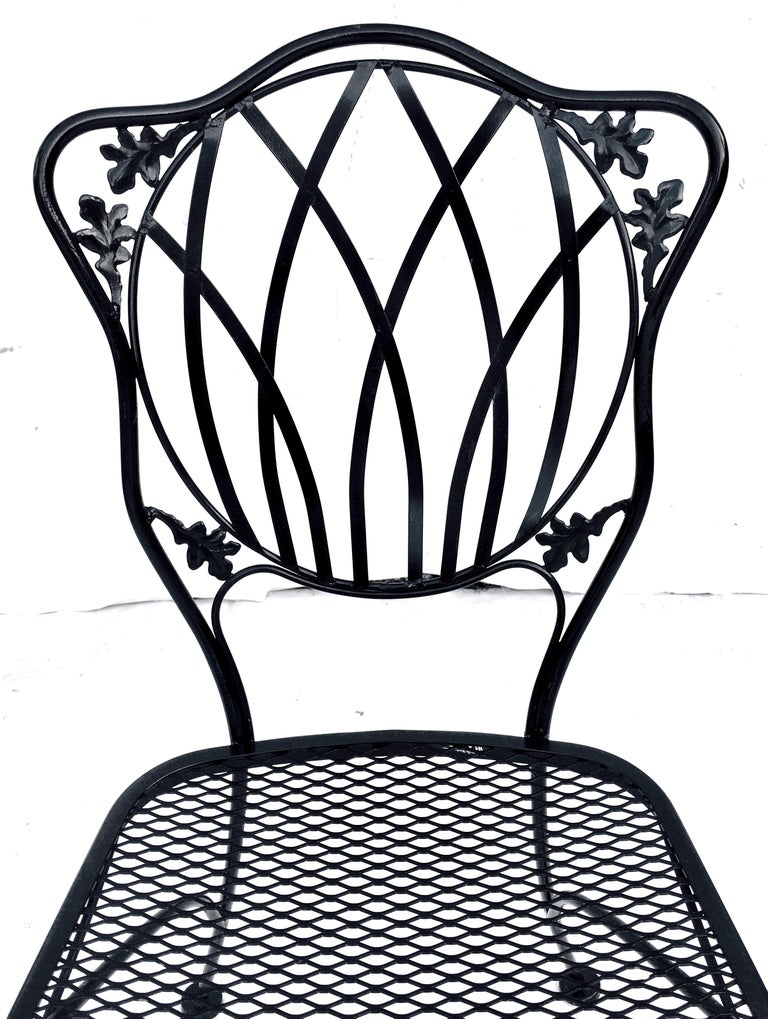 1950s Wrought Iron Mesh Floral and Vine Chairs by Woodard-S/5 For Sale 2