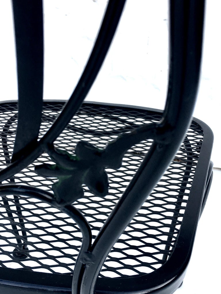 1950s Wrought Iron Mesh Floral and Vine Chairs by Woodard-S/5 For Sale 9