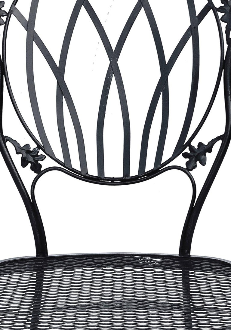 1950s Wrought Iron Mesh Floral and Vine Chairs by Woodard-S/5 For Sale 6