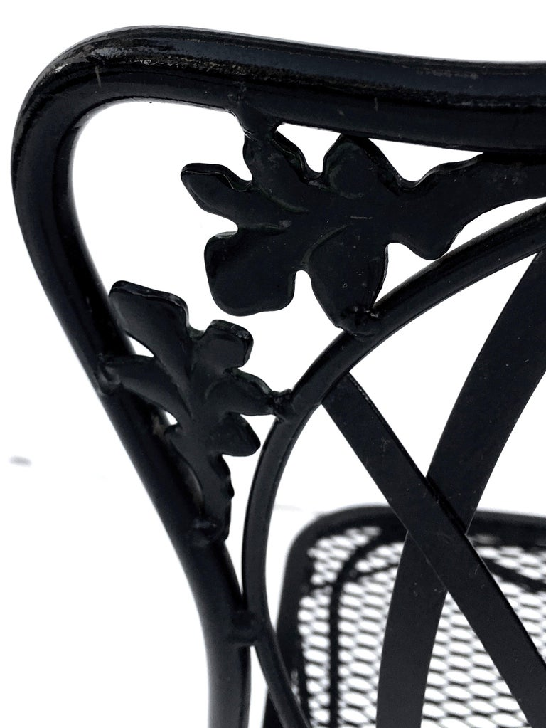 1950s Wrought Iron Mesh Floral and Vine Chairs by Woodard-S/5 For Sale 11