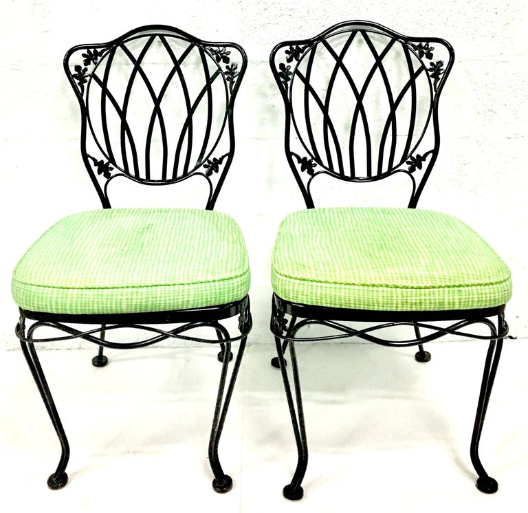 Mid-Century Modern 1950s Wrought Iron Mesh Floral and Vine Chairs by Woodard-S/5 For Sale