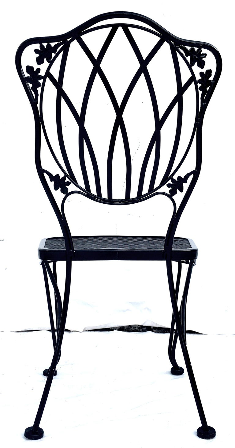20th Century 1950s Wrought Iron Mesh Floral and Vine Chairs by Woodard-S/5 For Sale