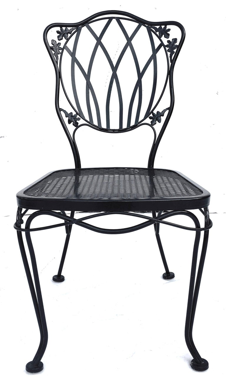 American 1950s Wrought Iron Mesh Floral and Vine Chairs by Woodard-S/5 For Sale