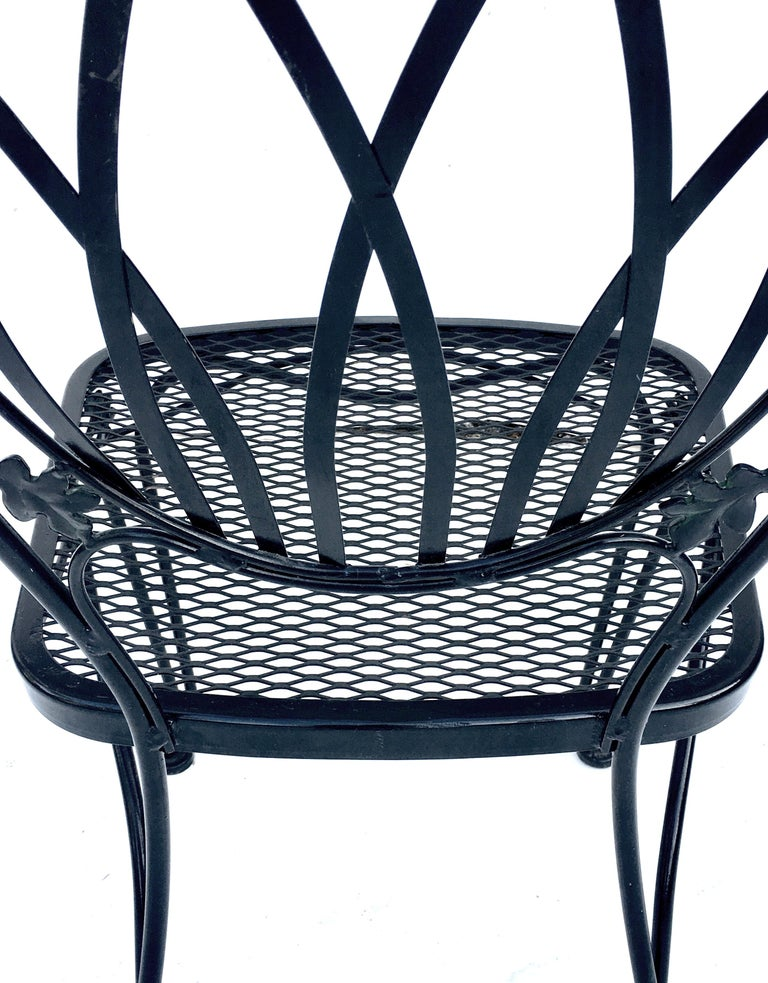 1950s Wrought Iron Mesh Floral and Vine Chairs by Woodard-S/5 For Sale 8