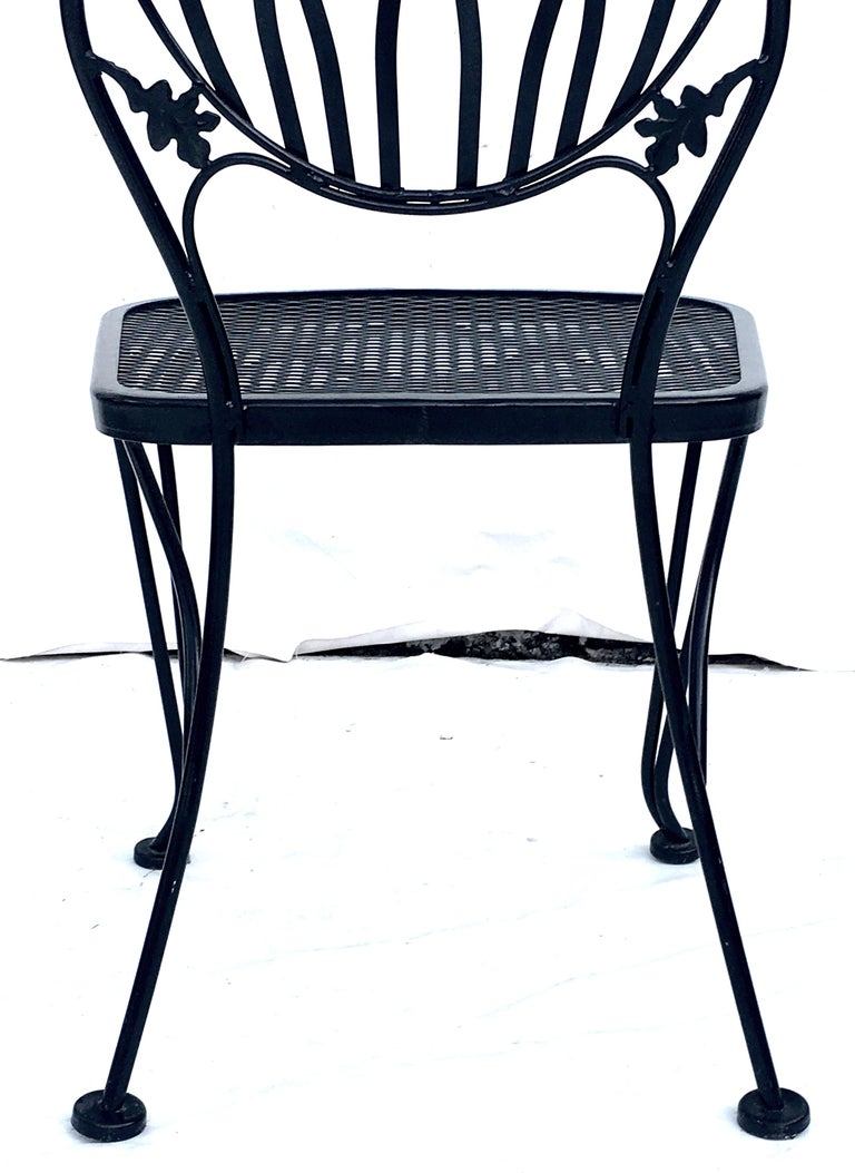 1950s Wrought Iron Mesh Floral and Vine Chairs by Woodard-S/5 For Sale 4