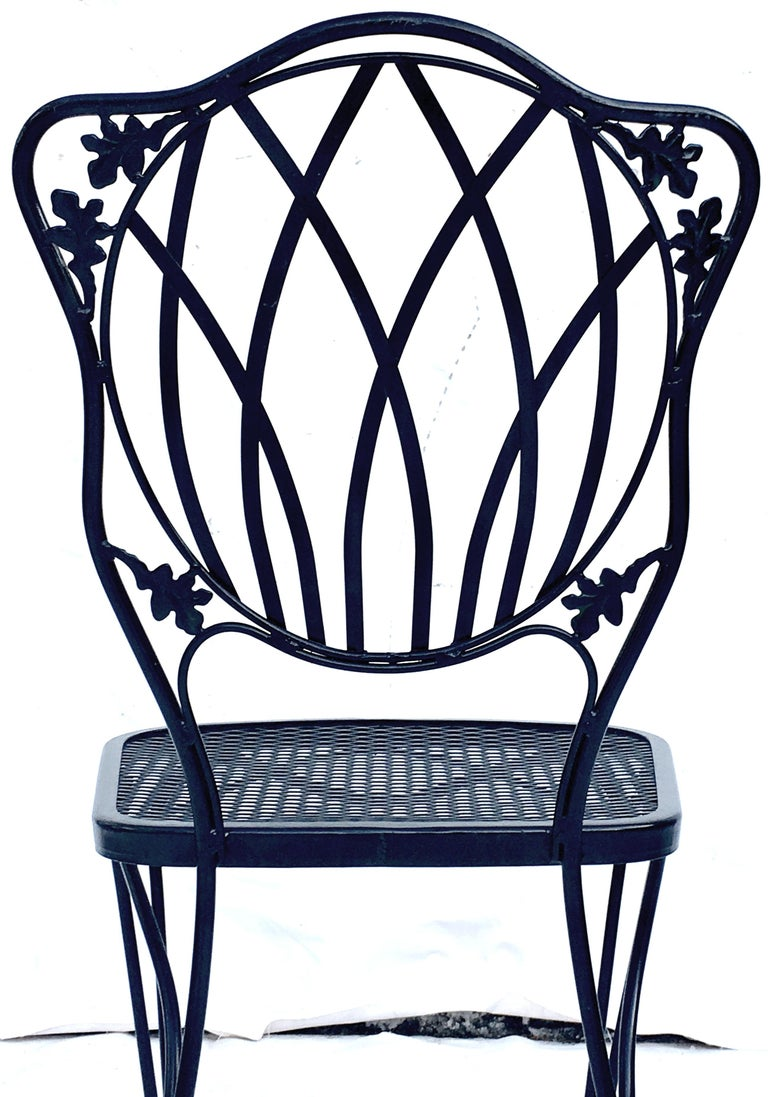 1950s Wrought Iron Mesh Floral and Vine Chairs by Woodard-S/5 For Sale 3