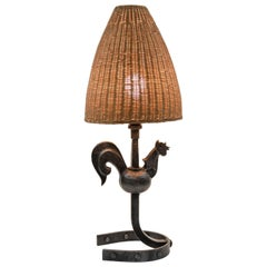 1950s Wrought Iron Rooster Lamp