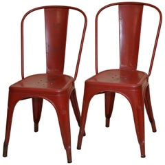1950s Xavier Pauchard Pair of Industrial Vintage Red Metal French Chairs, Tolix