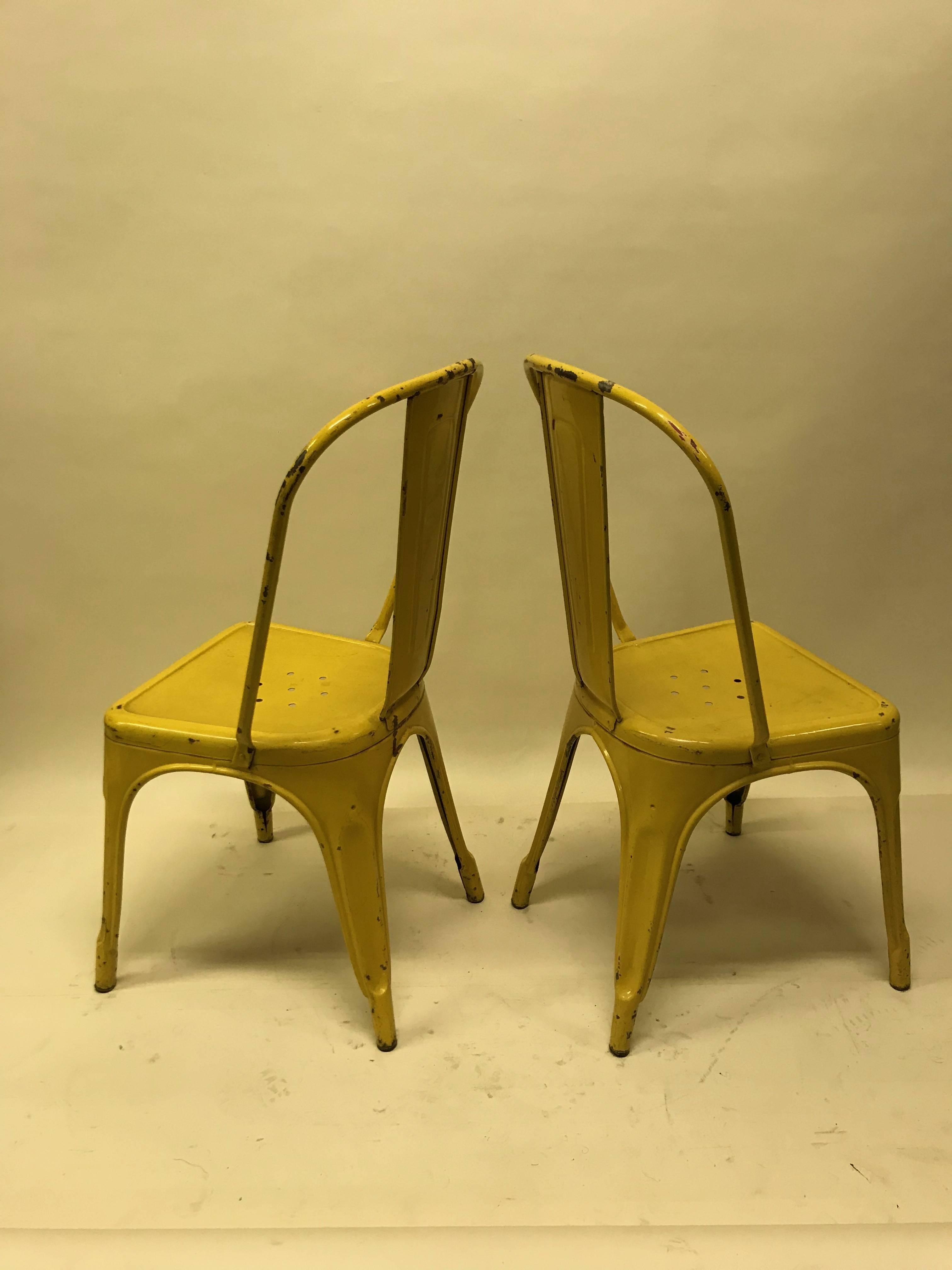 Attirant 1950s Xavier Pauchard Pair Of Industrial Yellow Metal French Chairs, Tolix  In Good Condition For