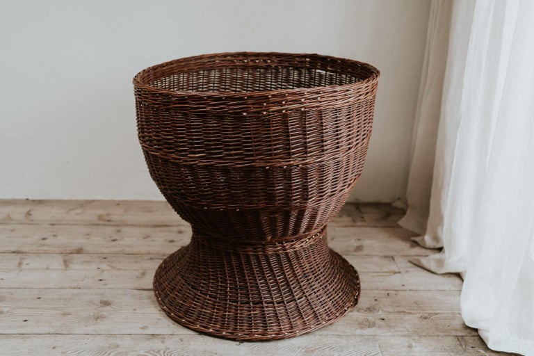 Made in the 1950s in France, the largest rattan/wicker jardinière I have seen ... high 87 cm and 90 cm diameter! A conversation piece.