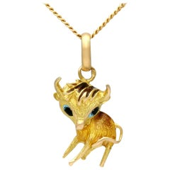 1950s Yellow Gold and Enamel Cow Pendant