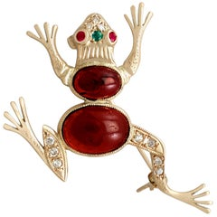 1950s Yellow Gold Frog Brooch with Emerald Ruby Garnet and Diamond