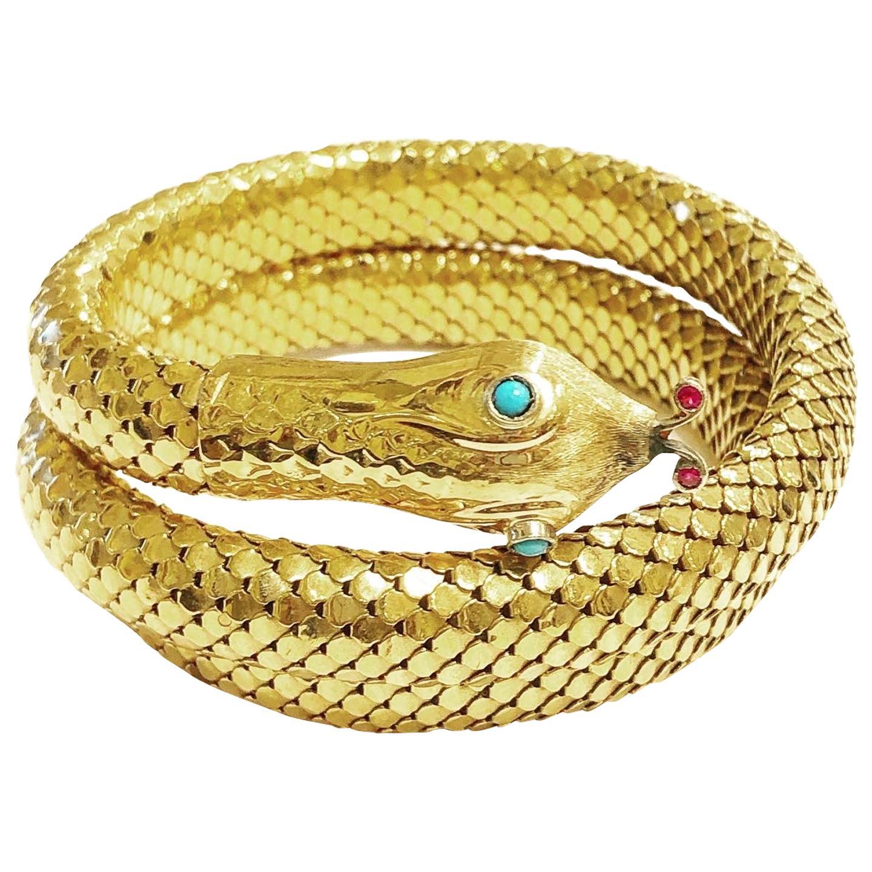 1950s 18k Yellow Gold Snake Serpent Flexible Bangle Bracelet