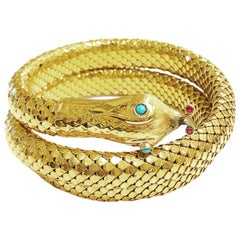 1950s Yellow Gold Snake Serpent Flexible Bracelet