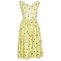 1950s Yellow Summer Dress with Black Star Print