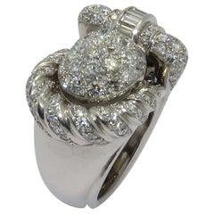 1950s Zenith Platinum Diamond Watch Ring
