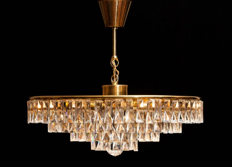 1950s, Crystal And Brass Ceiling Lamp Chandelier For Sale