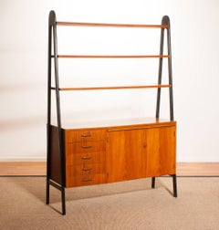 1950s, Teak and Brass Roomdivider / Cabinet / Bookshelves / Secretaire, Sweden