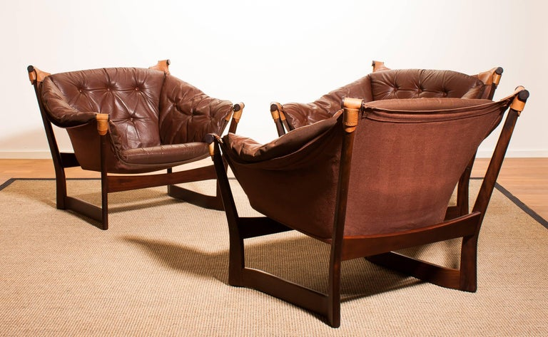 1950s, Teak And Leather Set 'Trega' Chairs By Tormod