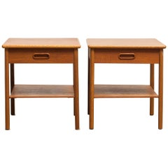 1950s, Pair of Teak Bedside Tables, Sweden