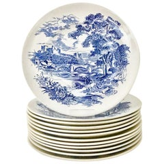 """1950s Wedgwood England Set of 12 Dinner Plates """"Countryside Blue"""""""