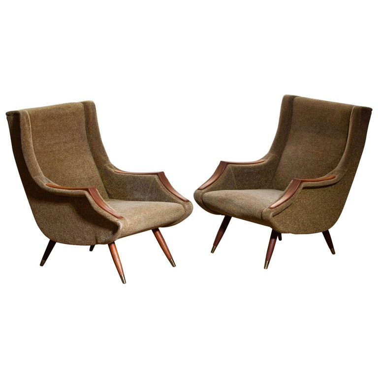 Mid-Century Modern 1950s, Set of Lounge Easy Club Chairs by Aldo Morbelli for Isa Bergamo, Italy For Sale