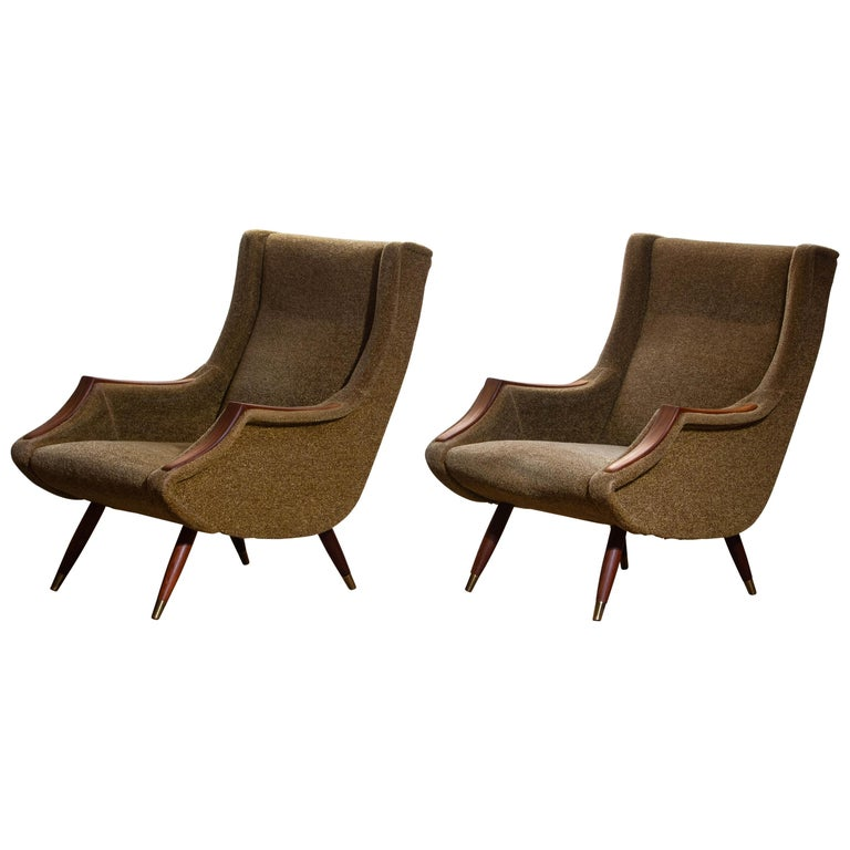 Italian 1950s, Set of Lounge Easy Club Chairs by Aldo Morbelli for Isa Bergamo, Italy For Sale