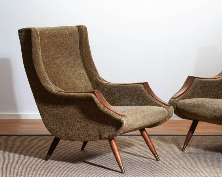 1950s, Set of Lounge Easy Club Chairs by Aldo Morbelli for Isa Bergamo, Italy In Good Condition For Sale In Silvolde, Gelderland
