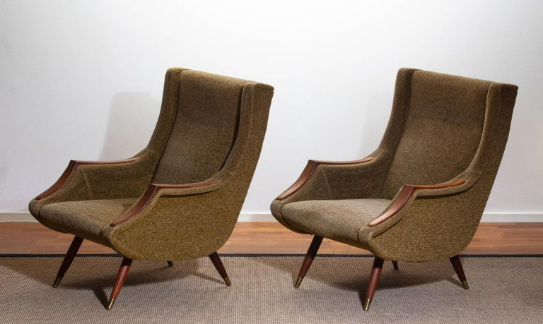 Fabric 1950s, Set of Lounge Easy Club Chairs by Aldo Morbelli for Isa Bergamo, Italy For Sale