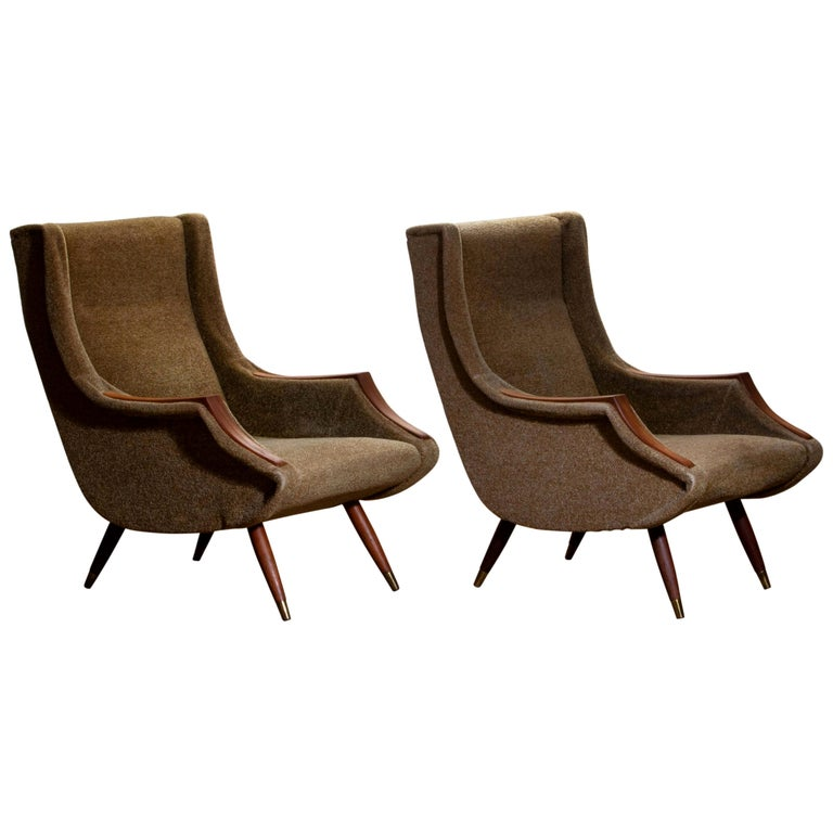 1950s, Set of Lounge Easy Club Chairs by Aldo Morbelli for Isa Bergamo, Italy For Sale