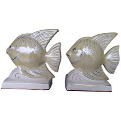 1950s Pair of Porcelaine Fishes as Bookend or Deco