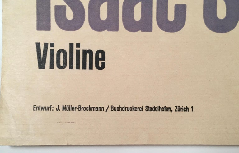 A striking, modern original Swiss poster, circa 1951, by the celebrated graphic designer Josef Müller-Brockmann for a concert of relatively modern classical music conducted by Hans Rosebaud and featuring renowned solo violinist Isaac Stern,