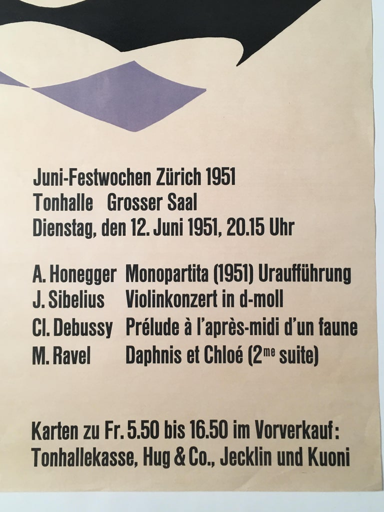 Swiss 1951 Classical Music Concert Poster by J. Muller-Brockmann Featuring Isaac Stern For Sale