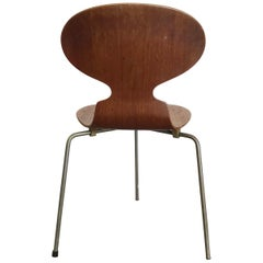 1952, Arne Jacobsen, for Fritz Hansen, Original Early Ant Chair Wood, Metal Mark