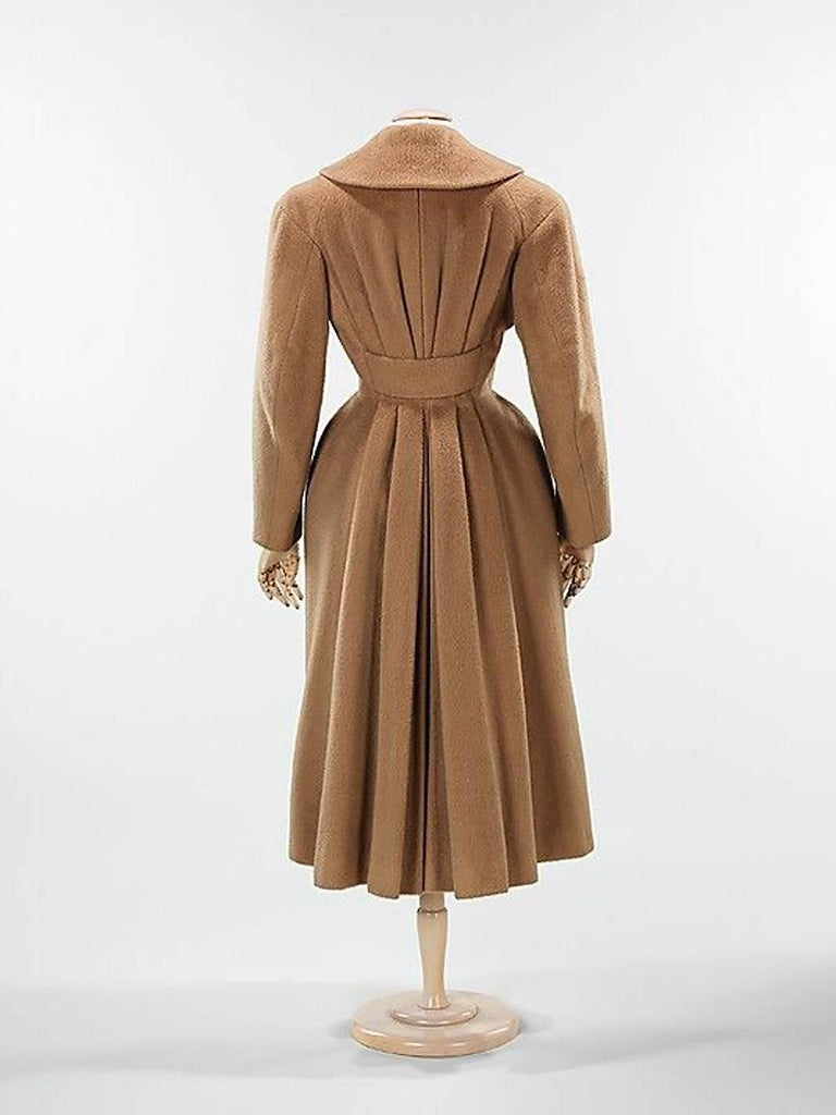 Vintage 1952 Charles James Couture Documented Museum-Held Black Princess Coat For Sale 6