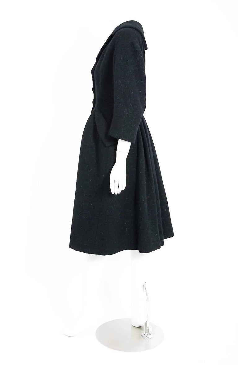 Women's Vintage 1952 Charles James Couture Documented Museum-Held Black Princess Coat For Sale