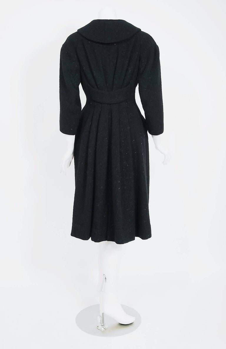 Vintage 1952 Charles James Couture Documented Museum-Held Black Princess Coat For Sale 2