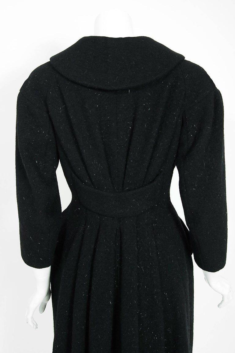 Vintage 1952 Charles James Couture Documented Museum-Held Black Princess Coat For Sale 3