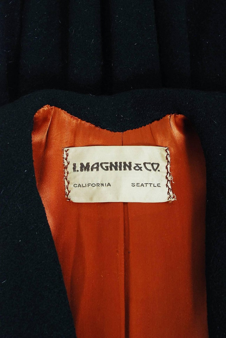 Vintage 1952 Charles James Couture Documented Museum-Held Black Princess Coat For Sale 4