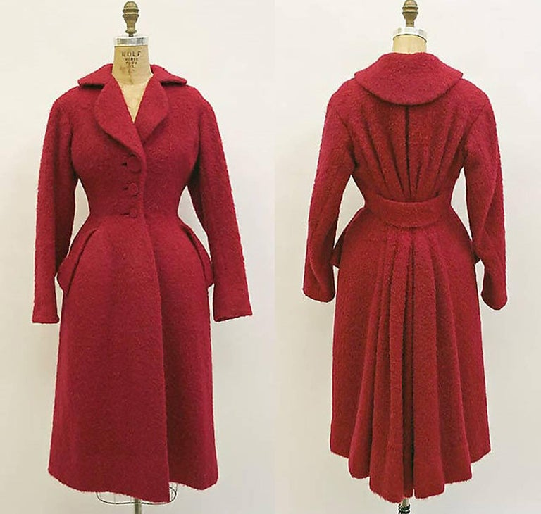 Vintage 1952 Charles James Couture Documented Museum-Held Black Princess Coat For Sale 5