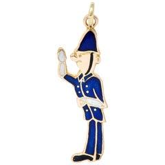 1952 Enamel 9 Karat Rose Gold British Bobby Police Officer Charm
