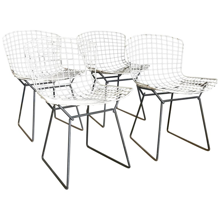 1952, Harrie Bertoia for Knoll International a Set of Wire Dining Chairs For Sale