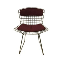 1952, Harrie Bertoia, Knoll International, Rarely Upholstered Wire Dining Chair